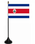 Costa Rica Desk / Table Flag with plastic stand and base.
